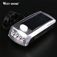 WEST BIKING Solar Energy Cycling Light LED Bicycle Rechargeable Front Head Flashlight Bike Bell Lamps Warning