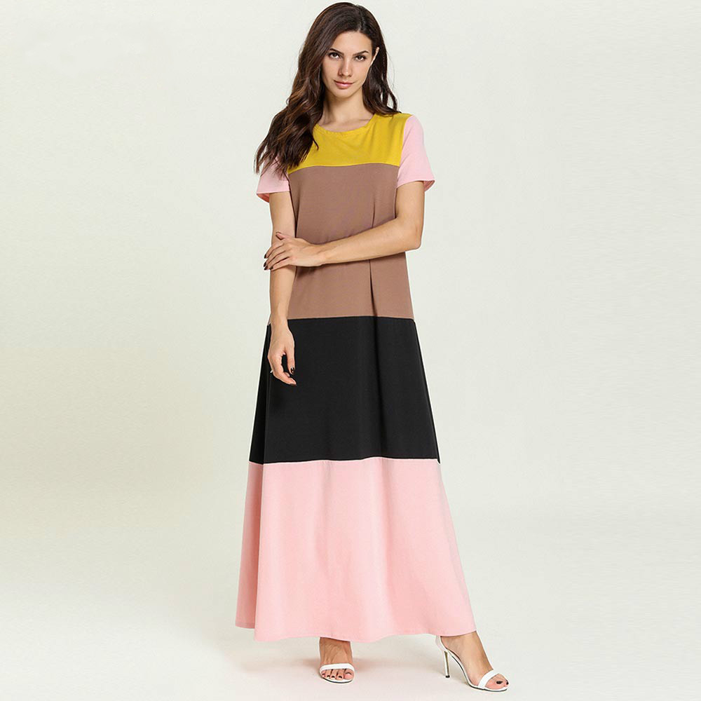 Nightgown Plus Size Long Nightgown Cotton Short Sleeve Night Dress Large Size Islamic Muslim Kaftan Dress Sleepwear Nightshirt