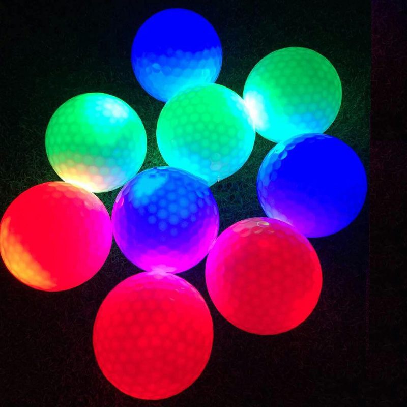 new creative golf ball led Flash ball solid color evening light golf ball high quality for gift practice night balls 6 pieces
