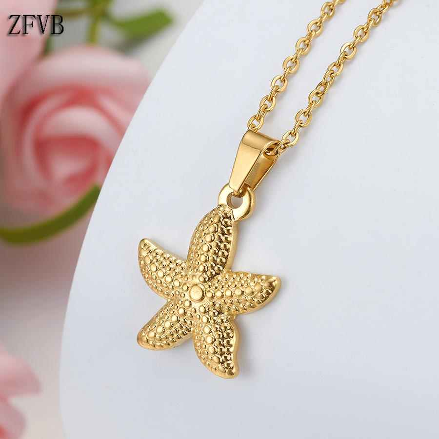 ZFVB Trendy Starfish Necklace Women Jewelry 2019 Stainless Steel Gold Silver color Star Pendant Necklaces Clavicle chain Gift