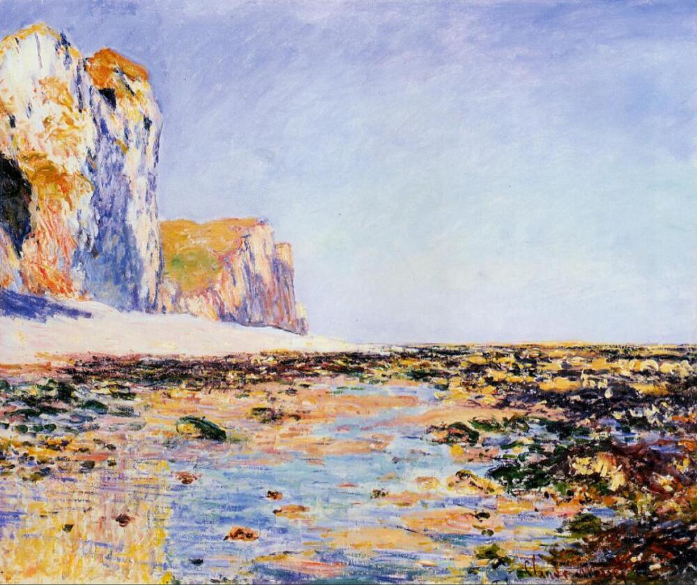 High quality Oil painting Canvas Reproductions Beach and Cliffs at Pourville, Morning Effect (1882  By Claude Monet hand paintedHigh quality Oil painting Canvas Reproductions Beach and Cliffs at Pourville, Morning Effect (1882  By Claude Monet hand painted