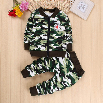 DIIMUU 2PCs Kids Baby Boys Girls Clothing Camouflage Outfit Toddler Infant Boy Girl Clothes Suits Outfits Sets Coat+Trousers christmas girls sports suits fashion toddler girl clothing sets 2017 spring autumn lace coat outfit clothes size 4 6 12 14 year