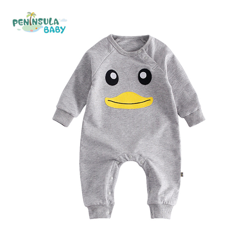 Newborn Baby Clothing Boy Girl Rompers Cartoon Animal Duck Face Long Sleeve Clothes Pajamas New born Cotton Infant Baby Product he hello enjoy baby rompers long sleeve cotton baby infant autumn animal newborn baby clothes romper hat pants 3pcs clothing set