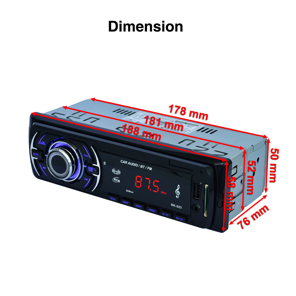 RK-523 7388 IC 12V Fixed panel 1DIN Car Audio MP3 player with Bluetooth FM Tuner USB SD AUX IN Remote Control 188*58*76mm