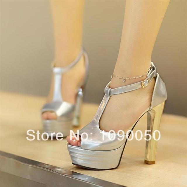 Hot thick heel ultra high heels open toe platform sandals T buckle ...
