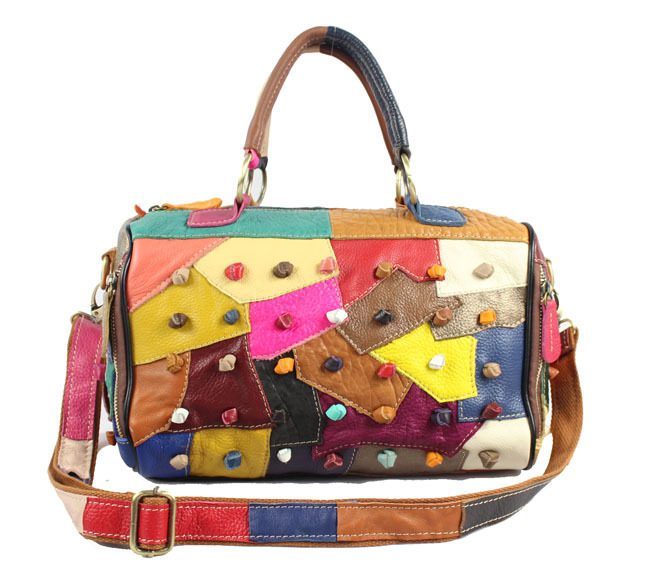 ФОТО 2017 100% Genuine Leather Women Soft handbag Cowhide Multi Color Shoulder Messenger Casual Colourful Patchwork Woman Bag Tote