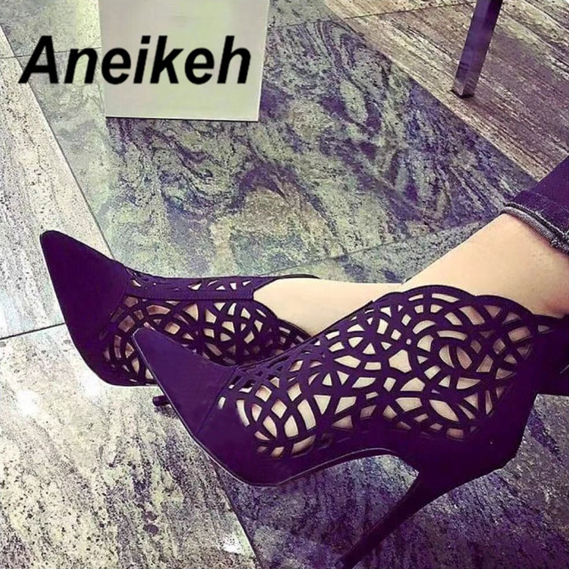 Aneikeh Spring/Autumn Gladiator Sandals Summer Cut Out Caged Zip Ankle Boots Stiletto High Heel Women Sexy Shoes Party Bootie