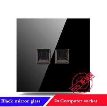 EU France Germany UK socket Full set of 86 type 1 2 3 4 gang 1 2way black mirror glass wall switch LED light switch Industry 11