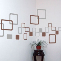 Square wall stickers Fashion Creative Room Mural Art Wall sticker wall covering tv background wall