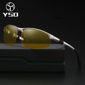 YSO Night Vision Glasses Men Aluminium Magnesium Frame Polarized Night Vision Goggles For Car Driving Anti Glare Glasses 3121