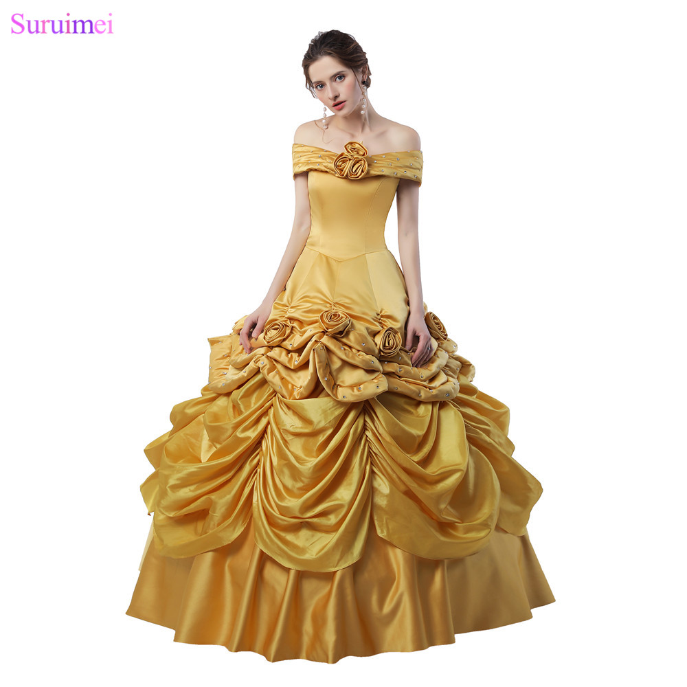 Ball Gown Quinceanera Dresses Handmade Flowers Pleated Gold Taffeta Girls Graduation Dresses 18 Years Quinceanera Prom Gown