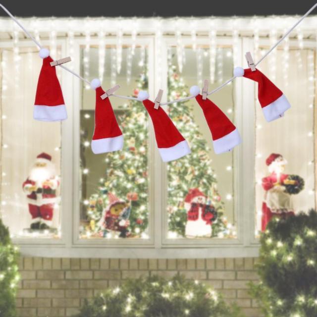 Dekoration Weihnachtsbaum.Us 1 16 10 Off Weihnachten Kleine Hüte Flagge Kamin Vorhänge Weihnachten Wimpel Volant Für Dekoration Weihnachtsbaum Anhänger Ornament 6 In