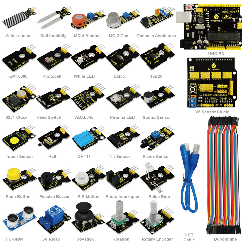 Free shipping !2016 New sensor kit for aduino starter with UNO+Shield V5+Sensors+Dupont cable+PDF