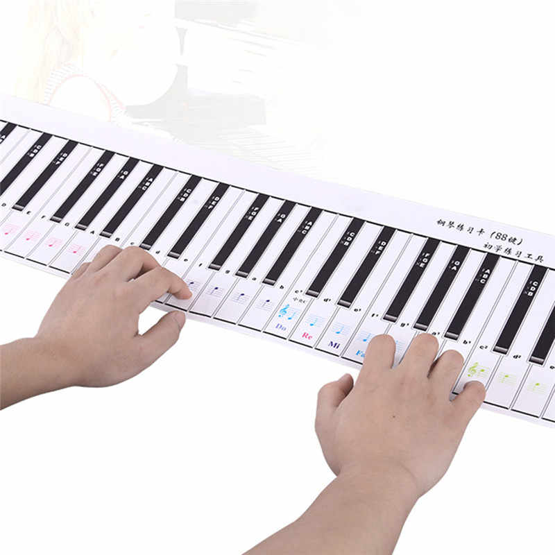 88-Key Piano Keyboard Practice Card Piano Part Musical Instrument Accessories for Piano beginner Exercise Tools (Single Side)
