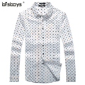 Man Shirts 2015 Hot New Arrival Fashion Casual White Blue Single Breasted Long Sleeved Dots Man's Clothes 1109