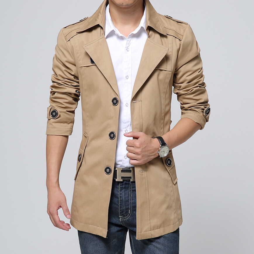 New Style Mens Trench Coat Fashion Single Breasted Removable ...