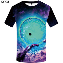 KYKU Brand Galaxy Space T-shirt Men Harajuku Shirt Print Colorful Tshirt Printed Moon T-shirts 3d Nebula Tshirts Casual