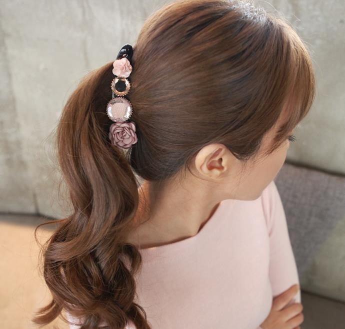 Girl Ponytail Banana clip Rose Rhinestone Women fashion headwear delicate hair Long Hair Barrettes Elegant Hair Accessories