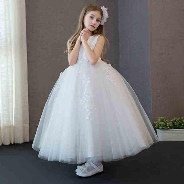 Детские платья 2016 белое изысканное платье для девочки с кружевными цветами платье для свадебной вечеринки дня рождения