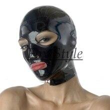 Черный латексный капюшон с молнией сзади