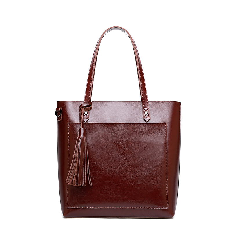купить Fashion Top-handle Shoulder Bags Oil Wax Leather Handbag Women Elegant Messenger Bag 2018 Latest Tote European Shopping Handbag по цене 4010.49 рублей