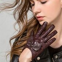 Fashion Elegant Sheepskin Gloves Women Winter Plus Velvet Thick Warm Hand Repair Short Bow Knot WL01