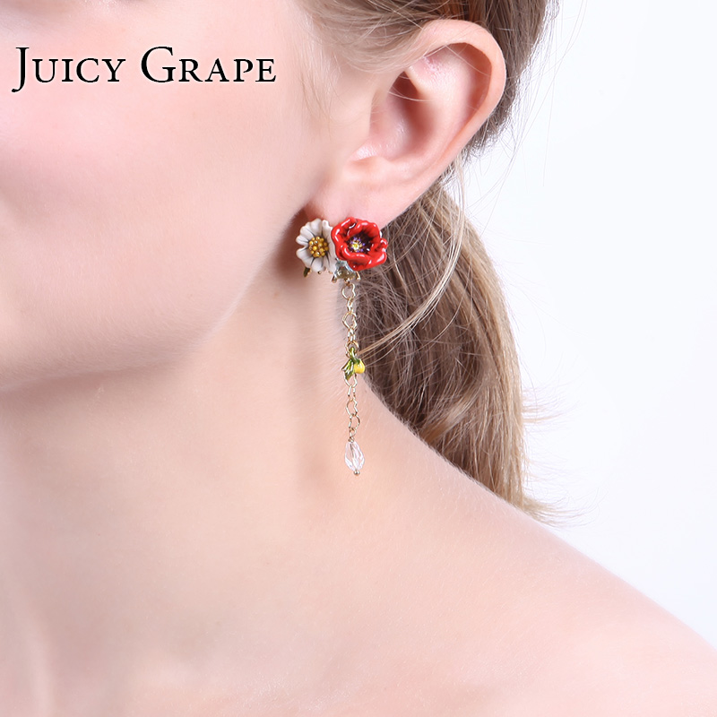 Enamel Glaze Transparent Crystal Red Rose White Daisies Tassels Earring Prevent Allergy Gold Ornaments Support Wholesale brinco