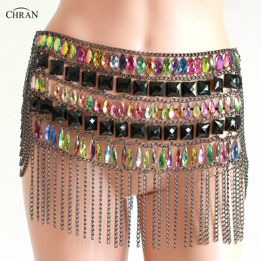 Chran Fringe Skirt EDM Belly Dancer Waist Belt Chain Necklace Rave Bra Bralete Festival Dress Costume Wear Ibiza Jewelry CRS407 dancer feather faux pearl waist belt chain