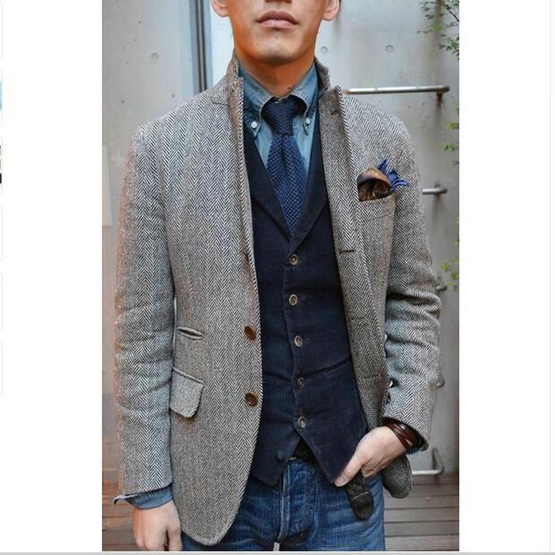 Mens Tweed Jacket Custom Made To Measure Men,Grey Mens Herringbone Coat,Custom Mens Tweed Coat Tweed Fall Winter Coat