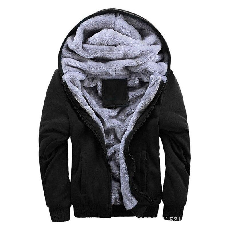 Winter Hoodie Fleece Jacket Thick Warm Casual Male Brand New Classic Windbreaker Snow Parka 4 Colors Solid Zipper Outerwear Coat