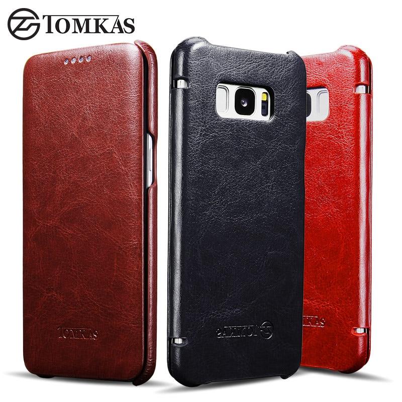 Hülle für Samsung Galaxy S8 S8 Plus TOMKAS Vintage PU Leder Flip - Handy-Zubehör und Ersatzteile