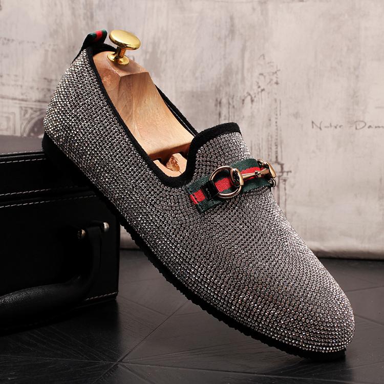 Mens Luxury Designer Fashion Leader Rhinestone Charm Platform Shoes Hip Hop Rock Prom Homecoming Zapatos Hombre Moccasins 52