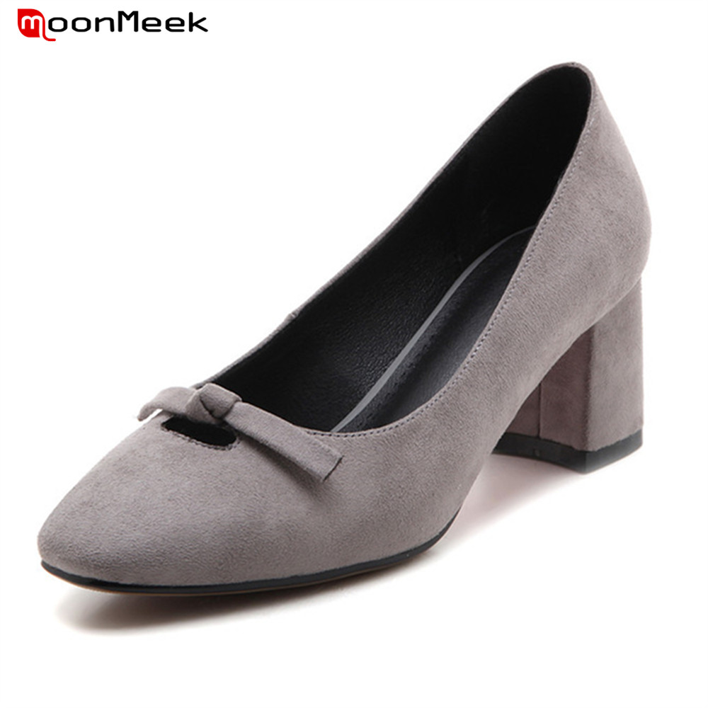 MoonMeek grey black green women fashion pumps high heels with butterfly knot square toe slip on gentle ladies shoes aquapulse 4122b grey black