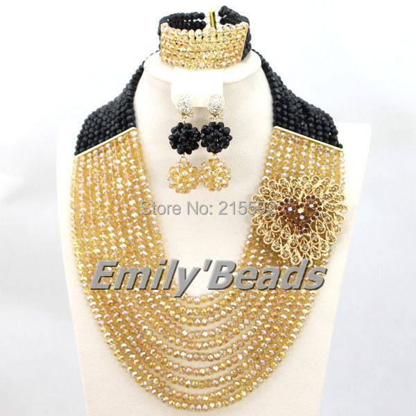 Nigerian Black African Wedding Beads Jewelry Set 2015 New Party Anniversary Indian Bridal Beads Jewelry Set