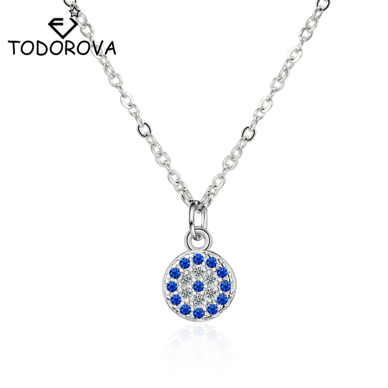 Todorova Vintage Turkish Round Eye Pendant Necklace Micro Pave Blue Clear CZ Crystal Necklaces for Women Statement Jewelry