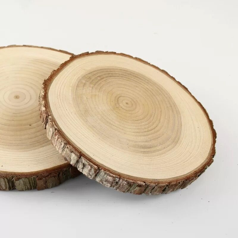 Unpainted Natural Round Blank Wood Slices With Tree Bark Log Discs For DIY Craft Woodburning Christmas Rustic Wedding Ornaments