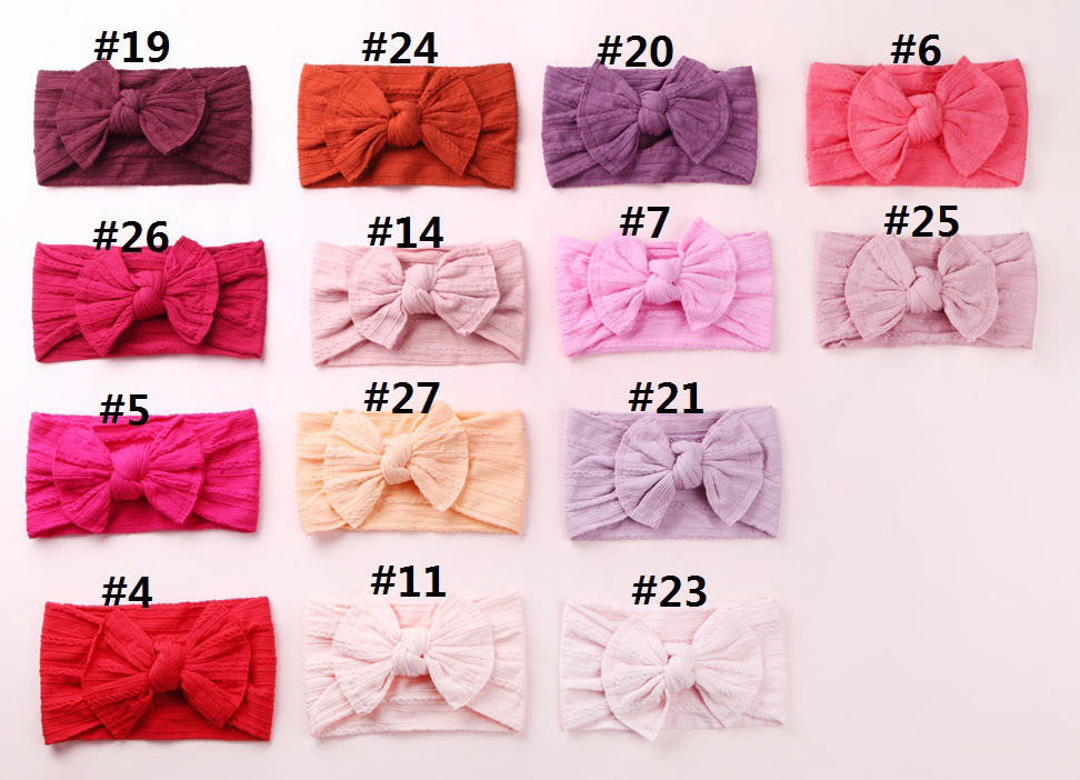 30PC/lot Newborn Kids Handmade Cable Knit Wide Nylon Headbands,Knotted Hair Bow Ribbed Headband,Children Girls Hair Accessories