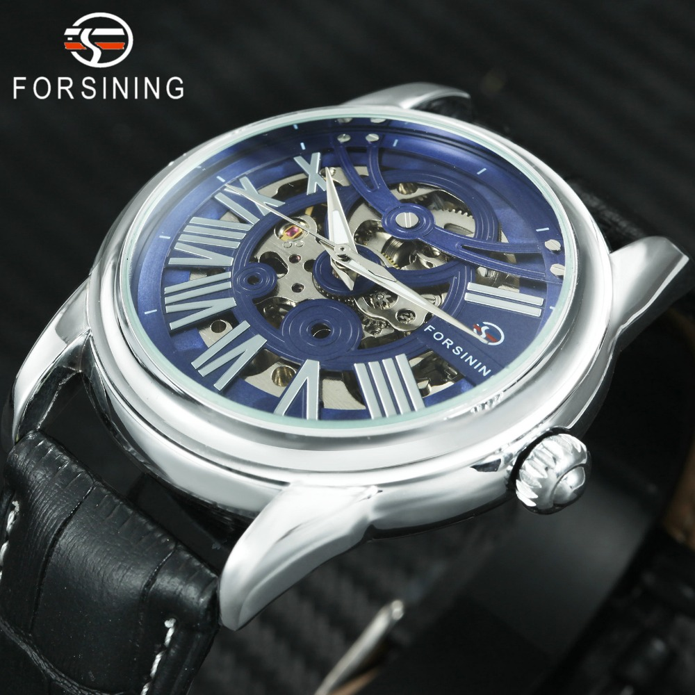 FORSINING Fashion Automatic Watch Men Genuine Leather Strap Mens Mechanical Watches Top Brand Luxury Skeleton Wristwatch Casual|Mechanical Watches| |  -