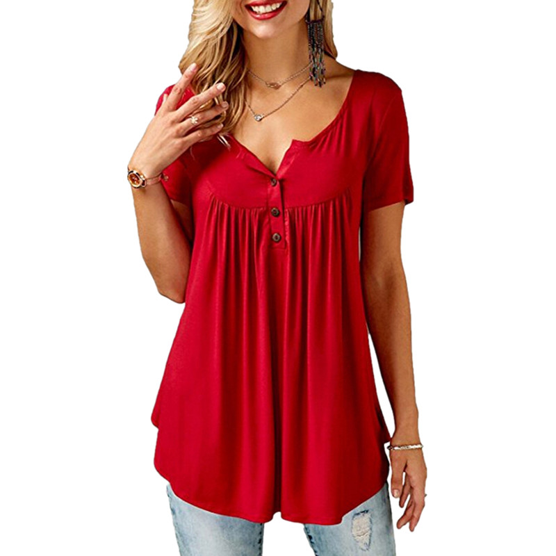Plus Size T shirt Female <font><b>Sexy</b></font> Big Size Women's Clothing 4XL <font><b>5XL</b></font> Solid O Neck Short Sleeve Pleated Casual Tee Shirt Tops <font><b>Femme</b></font> image