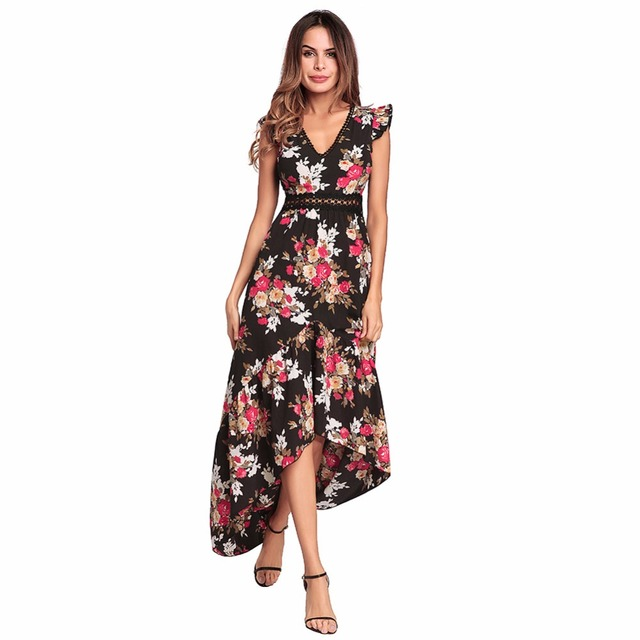 3996625b6 Long Dresses Women Casual Summer V-neck Maxi Dress Sexy Backless Asymmetric  Boho floral dress Sweet Beach Party Dress LDW1071