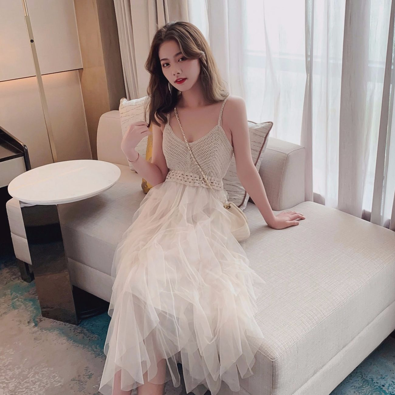 Lace Party Dress Solid Ruffles Knitting Patchwork Women Spaghetti Strap Dress 2019 Mesh Backless V neck Long Dress Vestidos