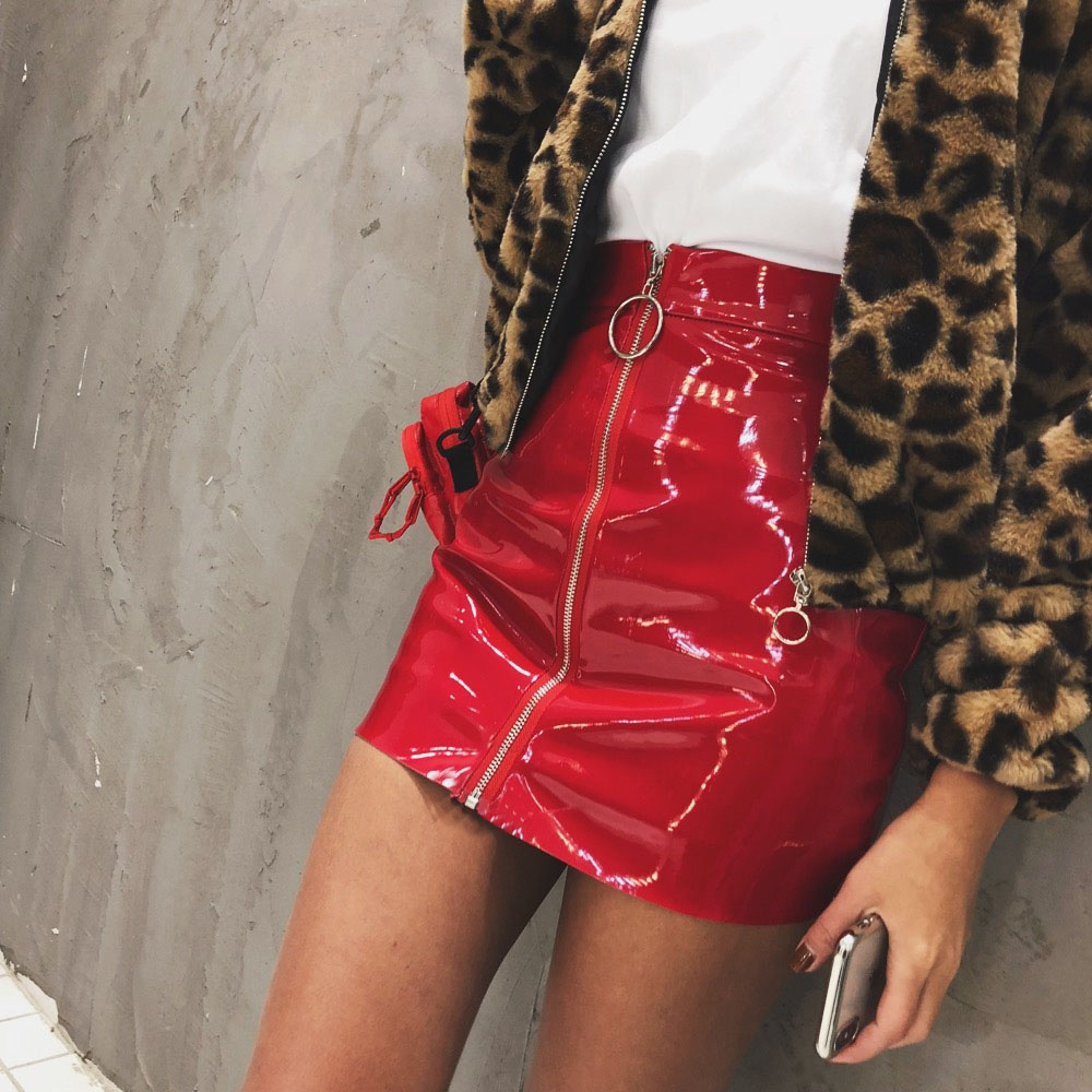 Casual Zip Faux Leather Pencil Above Knee Mini Skirt