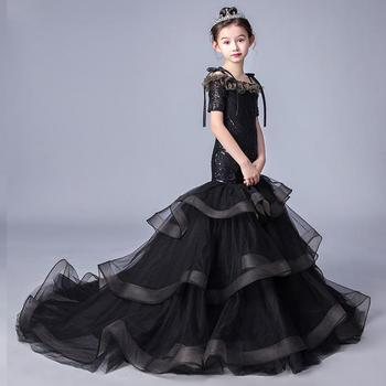 Children's Ball Gown Baby Girls Clothes High-end Catwalk Princess Dress Shoulderless Trailing Evening Dress Party Costume Y681