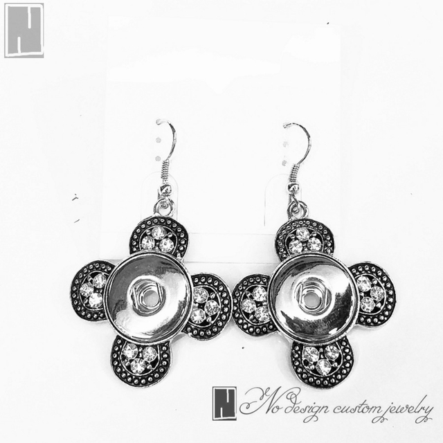 No design earrings button silver crystal cross snap button earring no design earrings button silver crystal cross snap button earring fit 18mm snaps diy jewelry making solutioingenieria Image collections