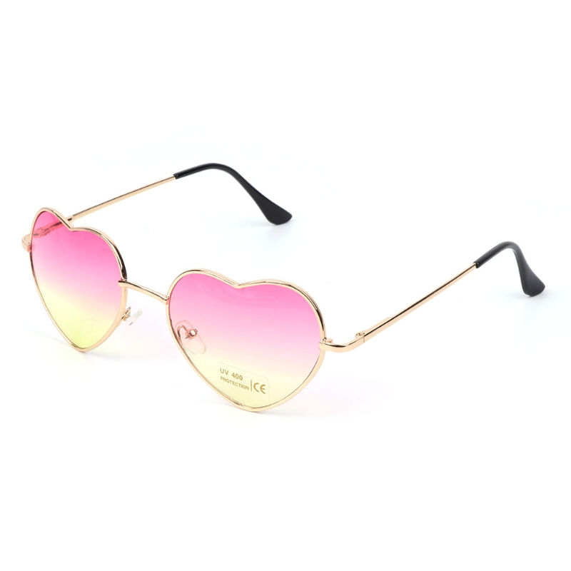 Heart Shape Fashion Novelty Sunglasses Metal Golden Frame Reflective Mirror Colorful Lens Female Women Sunglasses