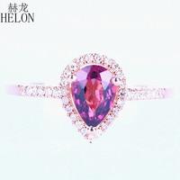 Helon固体14 kローズゴールド梨カット5 × 7ミリメートル本物トルマリンウェディングリングパヴェ天然ダイヤモンド婚約リングジュエリー女性の