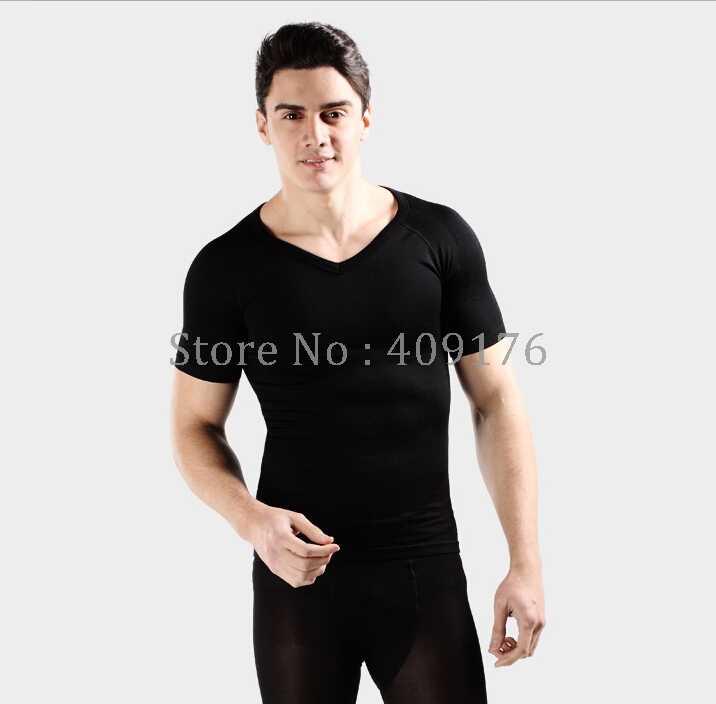 aa2c8abdcb9ee ... PRAYGER Men Male body shaper slimming seamless gynecomastia shapewear  short sleeve shirt tops abdomen belly control ...