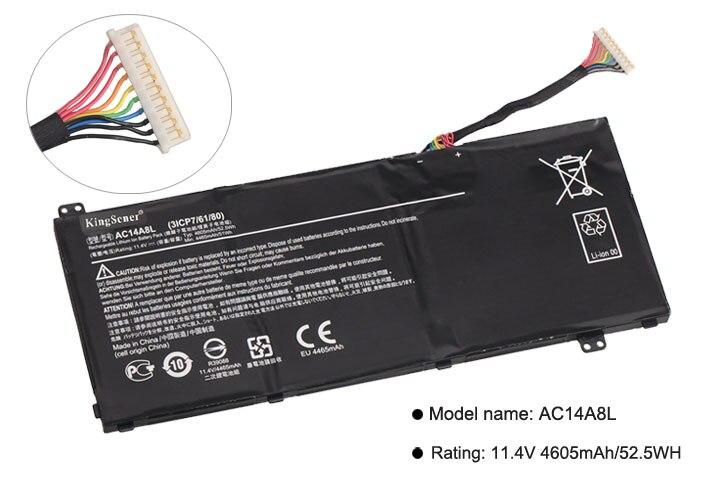KingSener nuevo AC14A8L batería del ordenador portátil para Acer Aspire VN7-571 VN7-571G VN7-591 VN7-591G VN7-791G KT.0030G 001 11,4 V 4605 mAh - 2