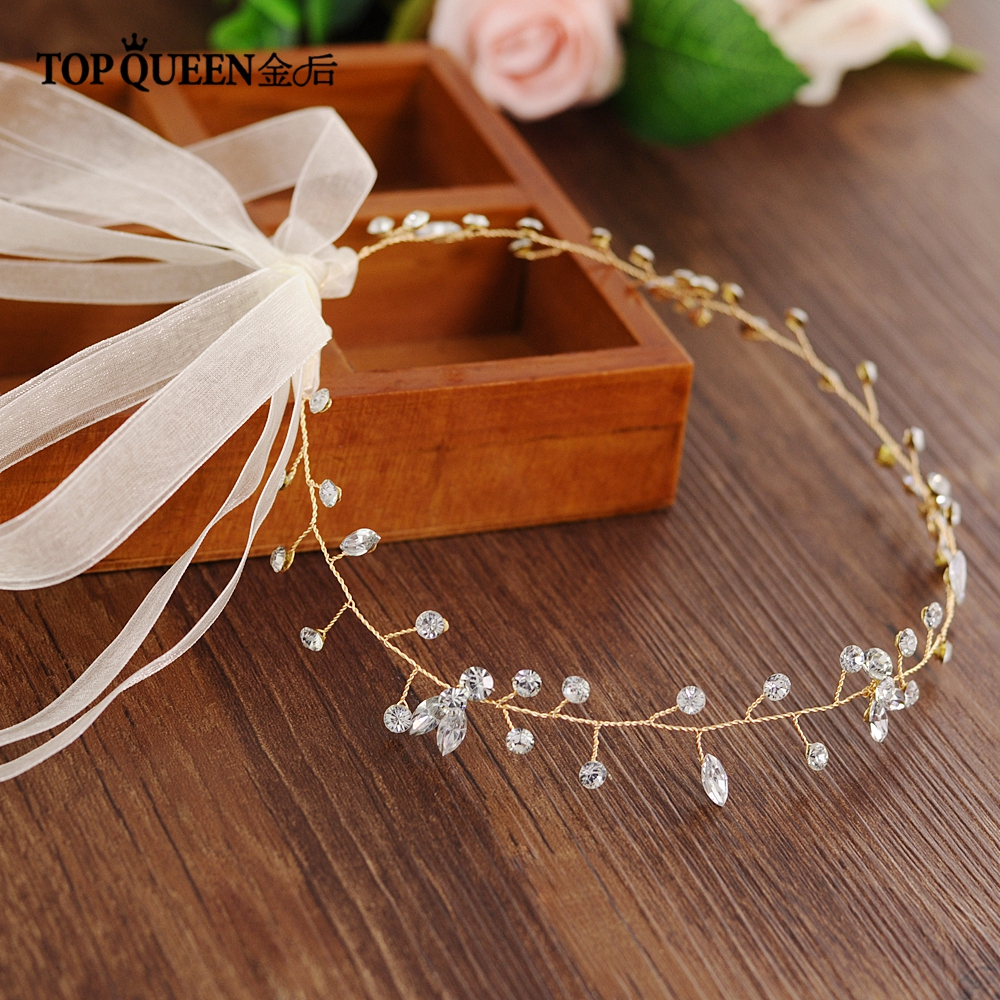 TOPQUEEN HP11-G Bride Hair Jewelry Wedding Tiara Bridal Hair Vine Wedding Headwear Wedding Hair Accessories Wedding Headband