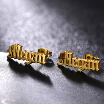 1 Pair Personalized Custom Name Earrings For Men Women Stainless Steel Customize Nameplate Stud Earring Gift.jpg 350x350 - 1 Pair Personalized Custom Name Earrings For Men Women Stainless Steel Customize Nameplate Stud Earring Gift For Hip Hop Jewelry